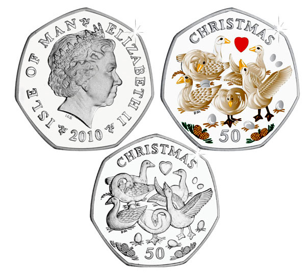 Isle of Man 2010 Twelve Days of Christmas 50p - Six Geese A-Laying Coin