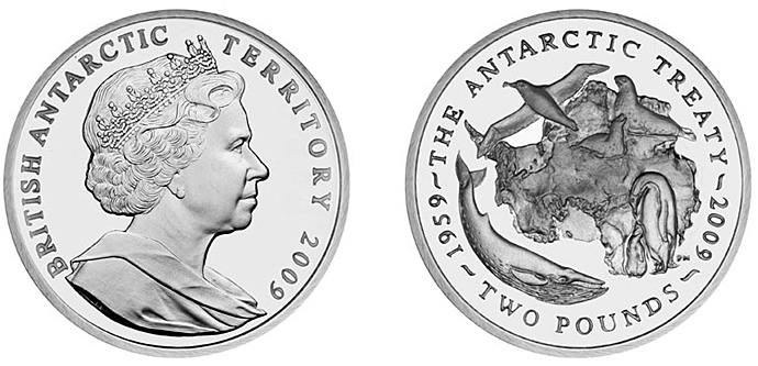 British Antarctic Territory 2009 50th Anniversary of the Antarctic Treaty Coin