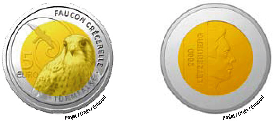 luxembourg coin Common Kestrel