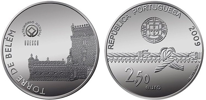 Torre de Belém – 2009 Portugal 2,5 euro commmemorative coin