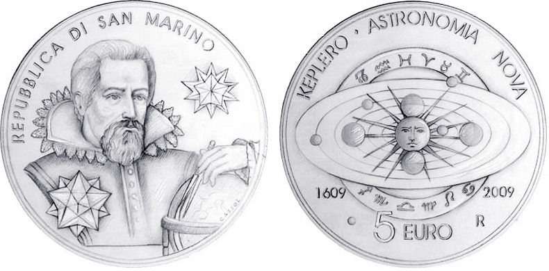 Sam marino 5 euro silver proof coin 400TH ANNIVERSARY OF THE COMPILATION OF JOHANNES KEPLER'S ASTRONOMIA NOVA TREATY