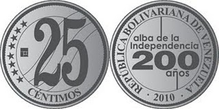 Venezuela 25 centimos 2010 - 200 years Independence