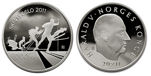 200-krone silver coin - Skiing in Norway