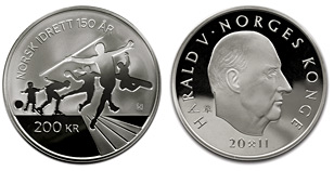 200-krone silver coin Norwegian Olympic and Paralympic Committee and Confederation of Sports