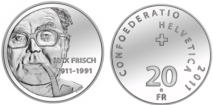 20-franc silver coin 2011, 100th anniversary of Max Frisch's birthday